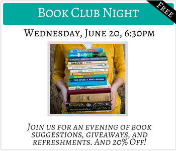 Book Club Night Wednesday June 20 6:30pm FREE Click for details