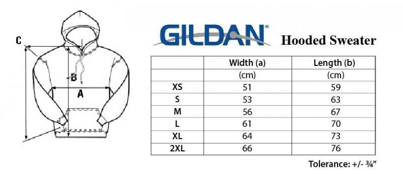 bdec78b78 Gildan Size Chart | The Odyssey Bookshop