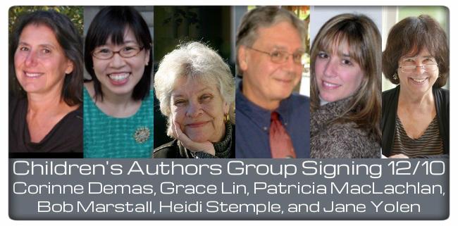 children's authors group signing 12/10; corinne demas, grace line, patricia maclachlan, bob marstall, heidi stemple, and jane yolen