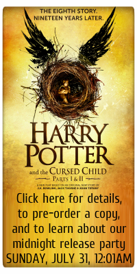 the 8th story. 19 years later. harry potter and the cursed child. clich here for details, to pre-order a copy, and to learn about our midnight release party SUNDAY JULY 31 12:01AM